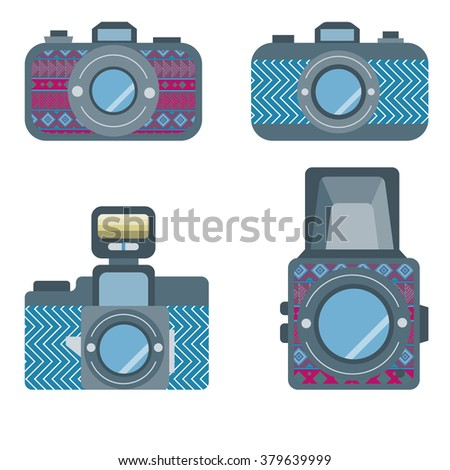 Set of nice lomo cameras.Cameras with geometric pattern. Vector illustration. Set of vintage style cameras. - stock vector