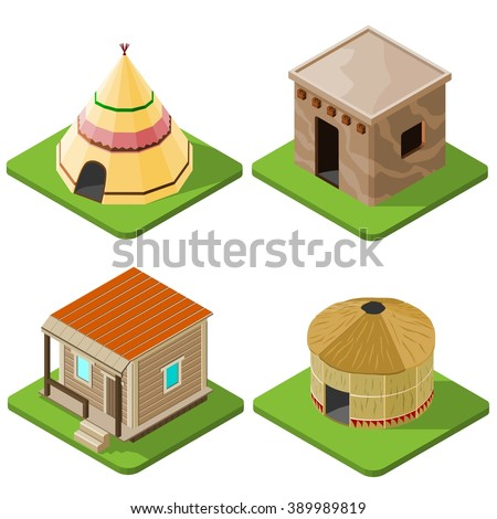 Set of nice looking bright isometric tribal native houses, huts and tents. Vector illustration. - stock vector