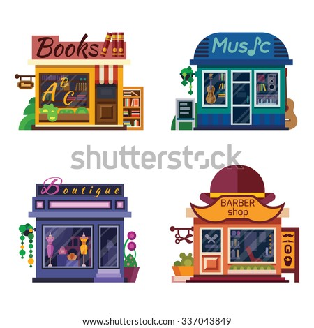Set of nice shops. Different Showcases: Barbershop, Music Store, Boutique, Books shop. Flat vector illustration stock set. - stock vector