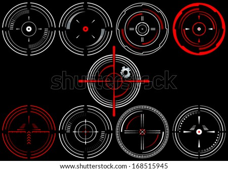 Set of nine abstract cross hairs, on black background - stock vector