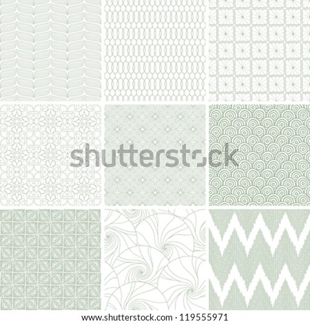 Set of nine abstract geometric seamless patterns. - stock vector