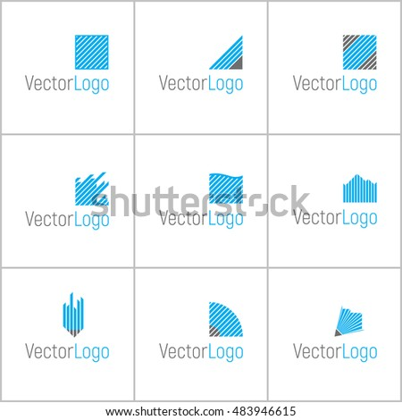 Set of nine abstract, linear logos.