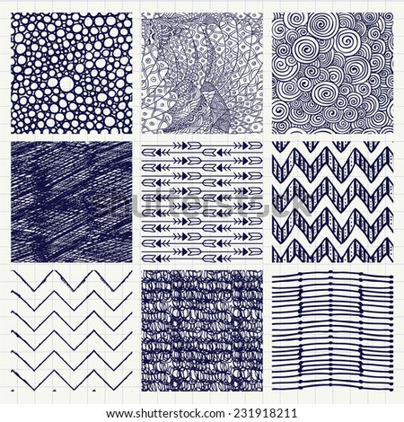 Set of Nine Abstract Pen Drawing Seamless Background Textures with Pattern Swatches. - stock vector