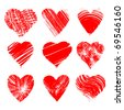 Set of nine artistic hearts - stock photo