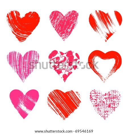 Set of nine artistic hearts - stock vector