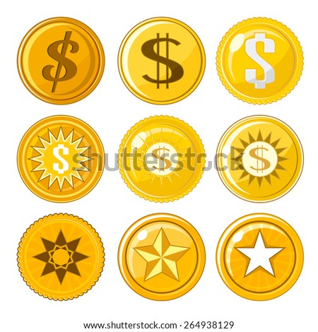 Set of nine assorted golden coins or tokens over white - stock vector