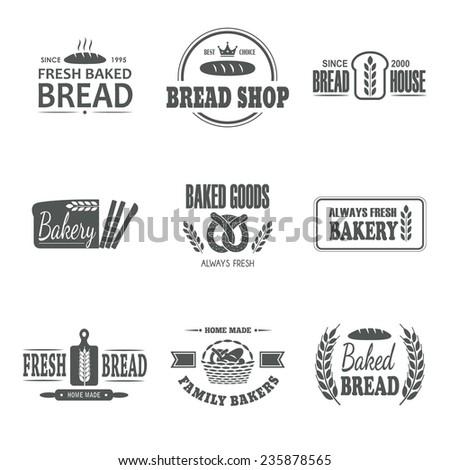Set of nine bakery vector emblem. Fresh bread label. Family bakers badge. Logo design. Business sign. Shop symbol. Baked goods sticker. - stock vector