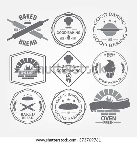 Set of nine bakery vector emblem. Fresh bread label. Shop. - stock vector
