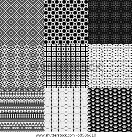 Set of nine black and white geometrical patterns - stock vector