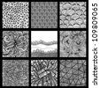 Set of nine black and white wave patterns (seamlessly tiling).Seamless pattern can be used for wallpaper, pattern fills, web page background,surface textures. Gorgeous seamless wave background - stock vector