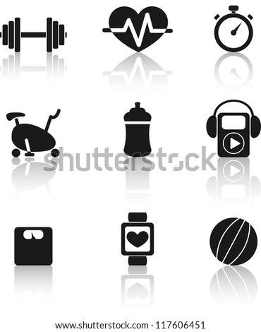 Set of nine black fitness icons with shadow - stock vector