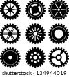 Set of nine black gears different forms. eps10 - stock vector