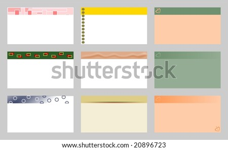 Set of nine business cards - stock vector