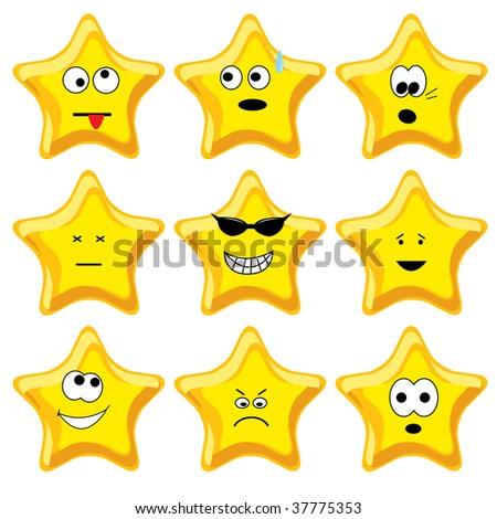 Set of nine cartoon gold stars. Vector illustration. - stock vector