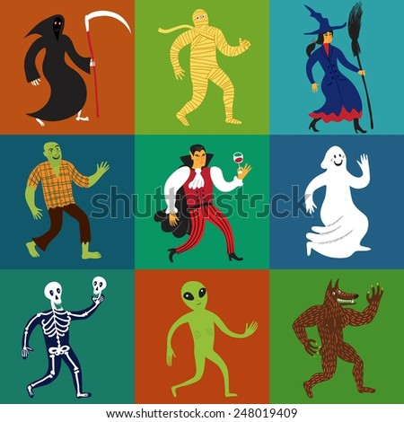 Set of nine cartoon monster characters including werewolf, zombie, skeleton, dracula, ghost, horror, mummy, alien, witch. Editable vector. - stock vector