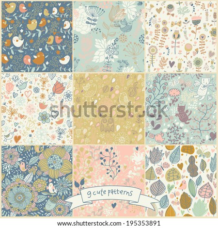 Set of nine cartoon vintage seamless patterns with birds and butterflies. Retro vector backgrounds. Seamless texture can be used for wallpapers, pattern fills, web page backgrounds, surface textures. - stock vector