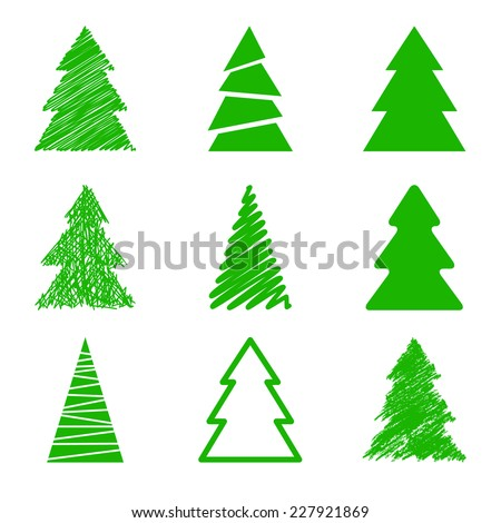 Set of nine Christmas trees. Different styles - stock vector