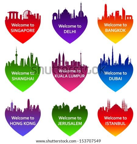Set of nine cities skylines in heart shape. Vector illustration. Welcome to Bangkok, Kuala Lumpur,  Singapore, New Delhi, Dubai, Shanghai, Jerusalem, Istanbul, Hong Kong - stock vector