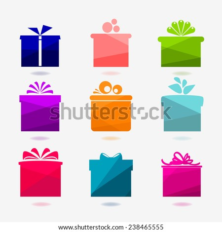 Set of nine color icons of gift boxes on light background. Vector illustration. - stock vector