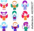 Set Of Nine Colorful Angel Girl Dolls. - stock vector