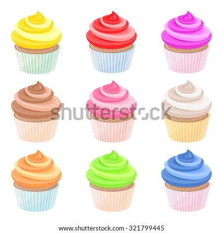 Set of nine colorful cupcakes with whipped cream - stock vector