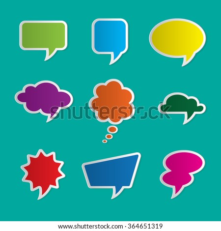 Set of nine colorful dialog boxes on blue background - 3d paper art style - stock vector