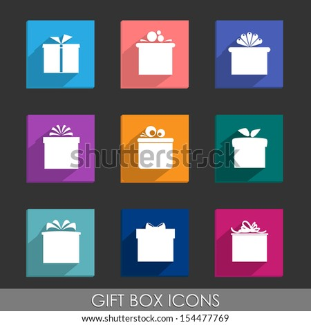 Set of nine colorful icons of gift boxes on dark grey background. Vector version. - stock vector