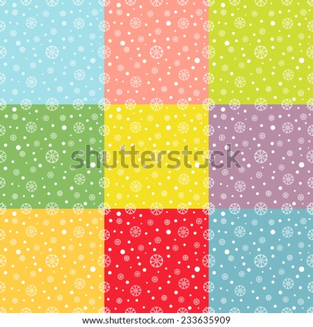 Set of  nine colorful seamless winter backgrounds with snowflakes. Winter pattern. For cards, invitations, wedding or baby shower albums, backgrounds, arts and scrapbooks. Vector image.  - stock vector