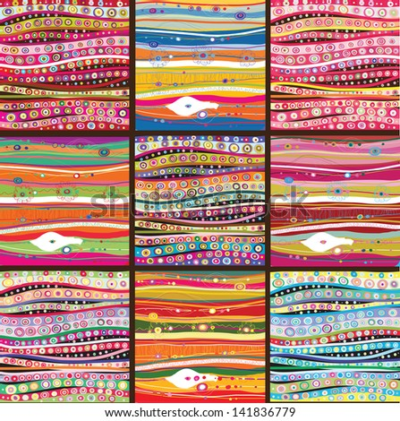 Set of nine colourful line background.Strips background can be used for wallpaper, web page background,surface textures and so on - stock vector
