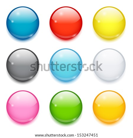 Set of nine 3d colored glossy round buttons - stock vector