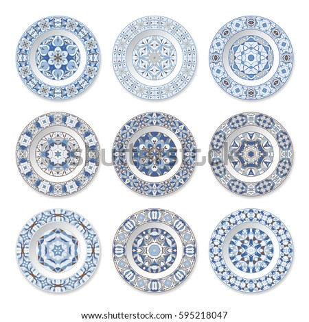 Set of nine decorative plates with a circular blue pattern top view. White background  sc 1 st  Shutterstock & Set Nine Decorative Plates Circular Blue Stock Vector 595218047 ...