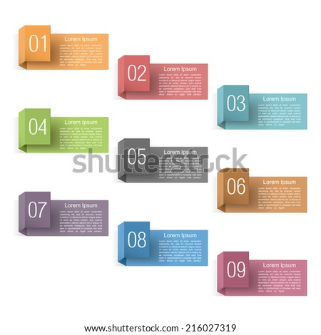 Set of nine design elements with numbers, origami style, vector eps10 illustration - stock vector