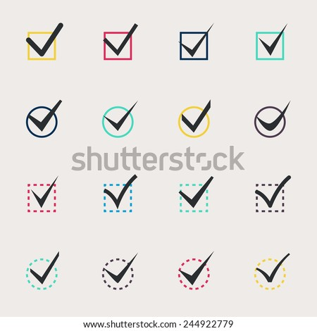 Set of nine different colors vector check marks or ticks in boxes conceptual of confirmation acceptance positive passed voting agreement true or completion of tasks on a list - stock vector