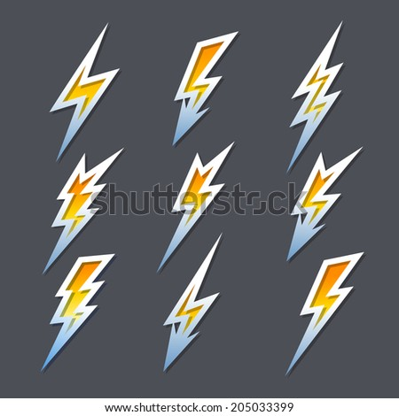 Set of nine different fiery orange cartoon zigzag lightning bolts or electricity icons in different shapes with metallic outlines - stock vector