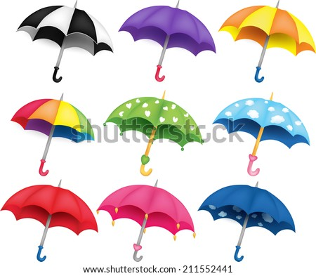 Set of nine different funny colored umbrellas