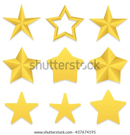 Set of nine different golden five point stars. Four stars with rounded corners. One star with a hole.  Vector, eps 10. - stock vector