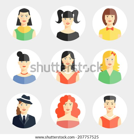 Set of nine different vector beautiful young woman faces in flat style showing diversity of clothing  hair color  hairstyle for use as avatars on round web buttons - stock vector