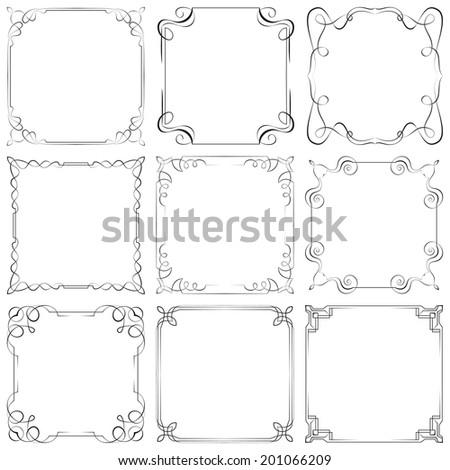 Set of nine different vector decorative frames - stock vector