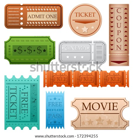 Set of nine different vintage tickets. Some of them includes grunge texture.