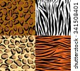 Set of nine different wild animals skin patterns vector background. Perfect for wallpapers, pattern fills, web page backgrounds, surface textures, textile  - stock vector