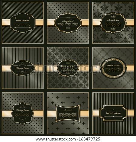 Set of nine elegant frames and pattern backgrounds in luxury stile. Vector illustration. - stock vector