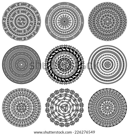 Set of nine 9 ethnic monochromatic round design elements isolated on white background. Can be used for invitation, menu, card design, for pillow design, banners, signs and others. Vector illustration - stock vector
