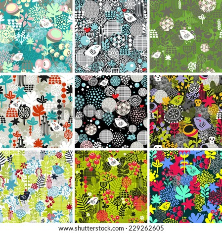 Set of nine floral seamless patterns with  leafs, flowers and cute birds in crown. Vector repeated backgrounds in retro style. - stock vector