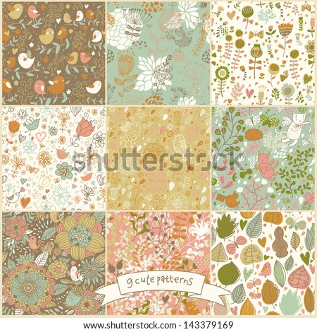 Set of nine floral vintage seamless patterns with birds and butterflies. Retro vector backgrounds. Seamless texture can be used for wallpapers, pattern fills, web page backgrounds, surface textures. - stock vector