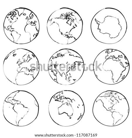 Set of nine globes showing world sketch vector - stock vector