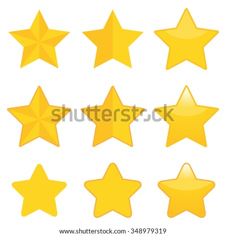Set of nine golden stars in different style.