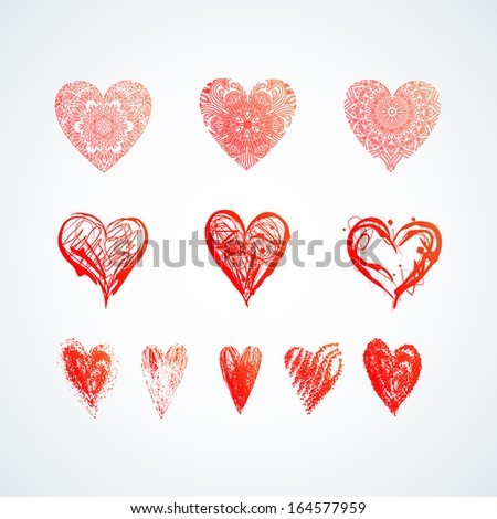 Set of Nine Grunge and Elegant Hearts  - stock vector