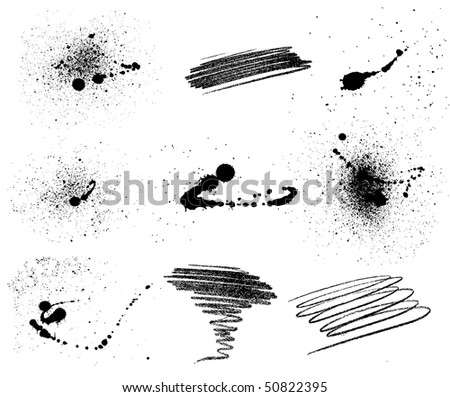 Set of nine grungy elements. Raster version available - stock vector