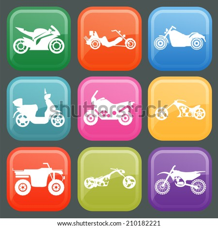 Set of nine icons of motorbikes. Vector illustration - stock vector