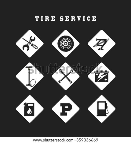 set of nine icons repair auto repair - stock vector